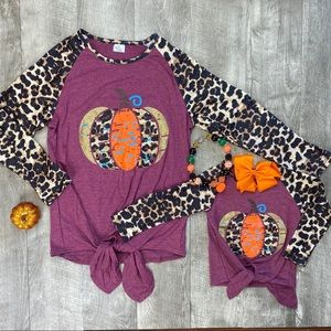 Mommy and me leopard pumpkin tie front top